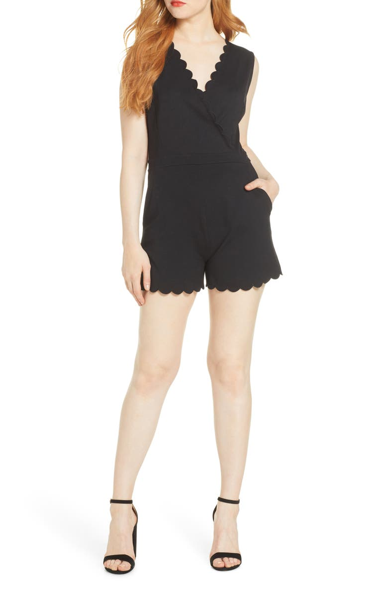 FRENCH CONNECTION Lula Scallop Knit Romper, Main, color, 001
