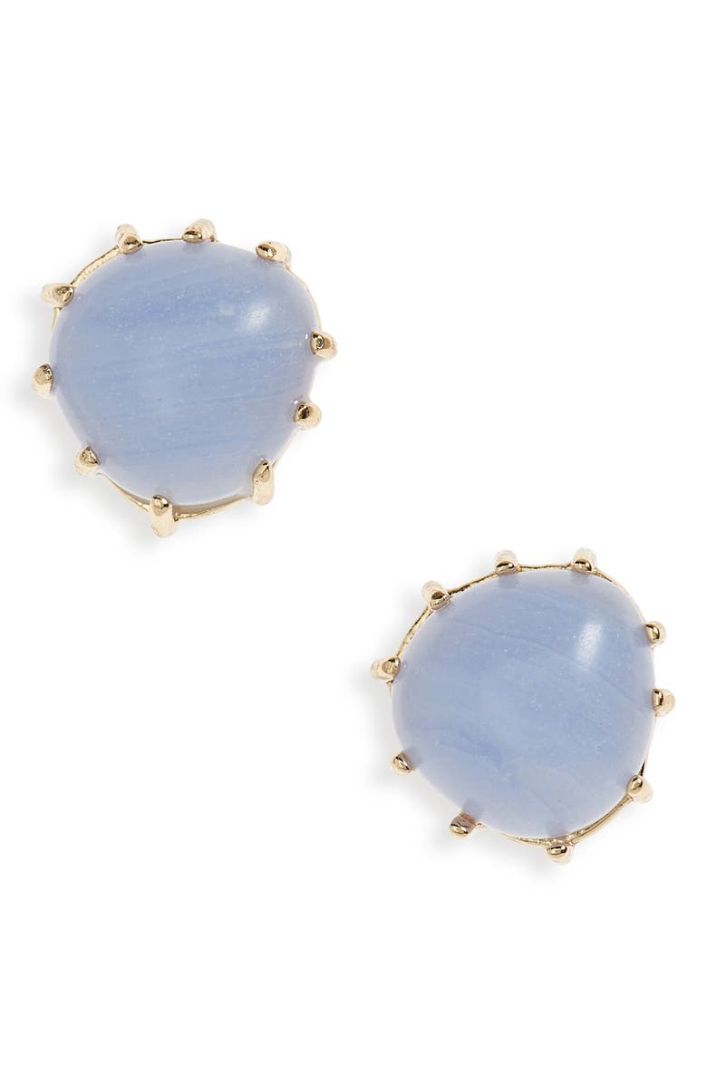 NORDSTROM Organic Stone Stud Earrings, Main, color, BLUE LACE AGATE- GOLD