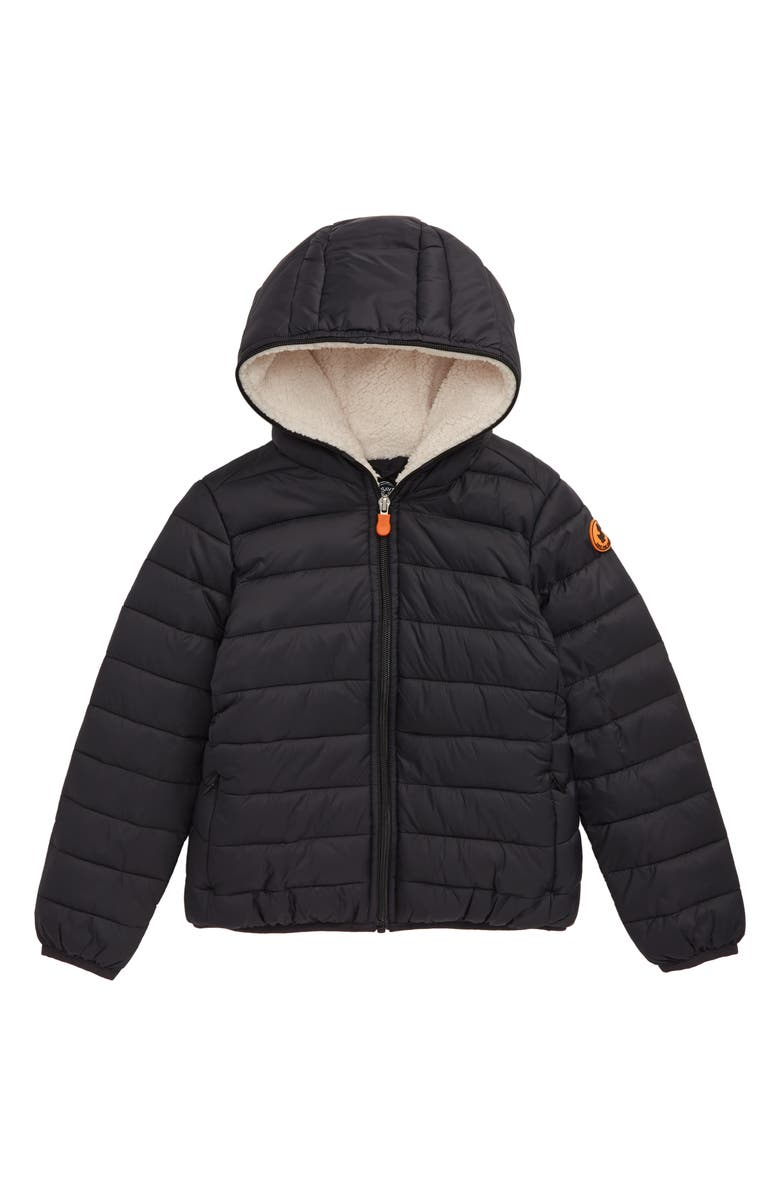 SAVE THE DUCK Quilted Water Resistant Hooded Jacket, Main, color, 001