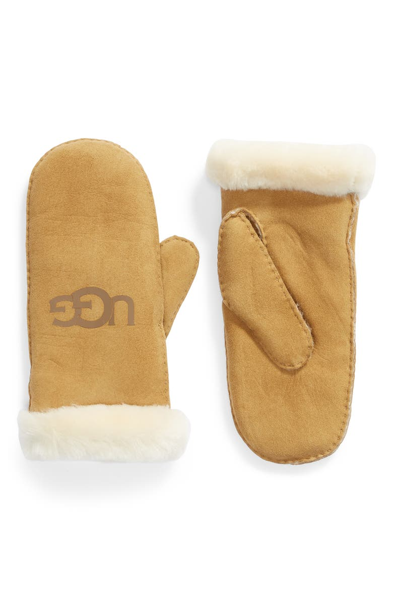 UGG<SUP>®</SUP> Genuine Shearling Trim Leather Mittens, Main, color, CHESTNUT