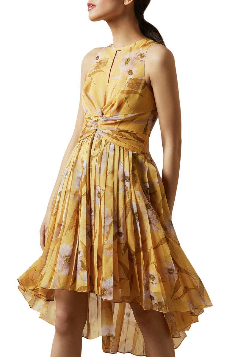 TED BAKER LONDON Fabulas Cabana Pleated Dress, Main, color, YELLOW