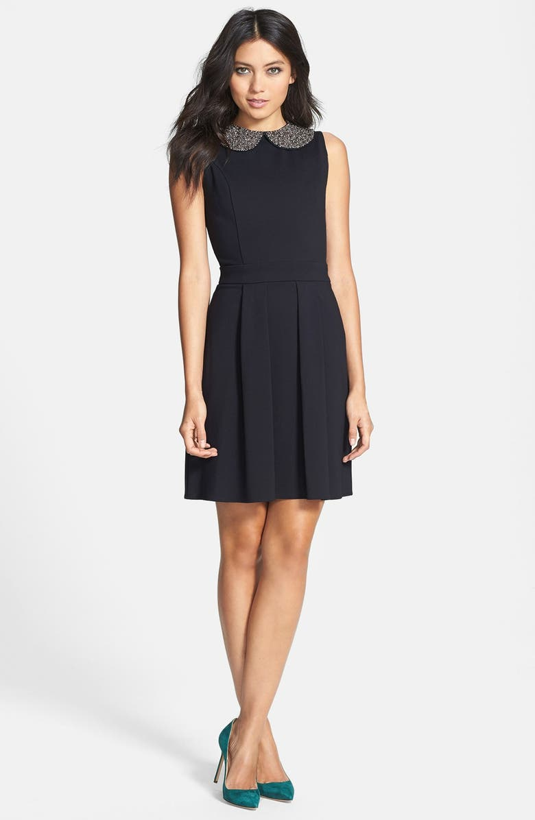 COLLECTIVE CONCEPTS Beaded Collar Fit & Flare Dress, Main, color, 001