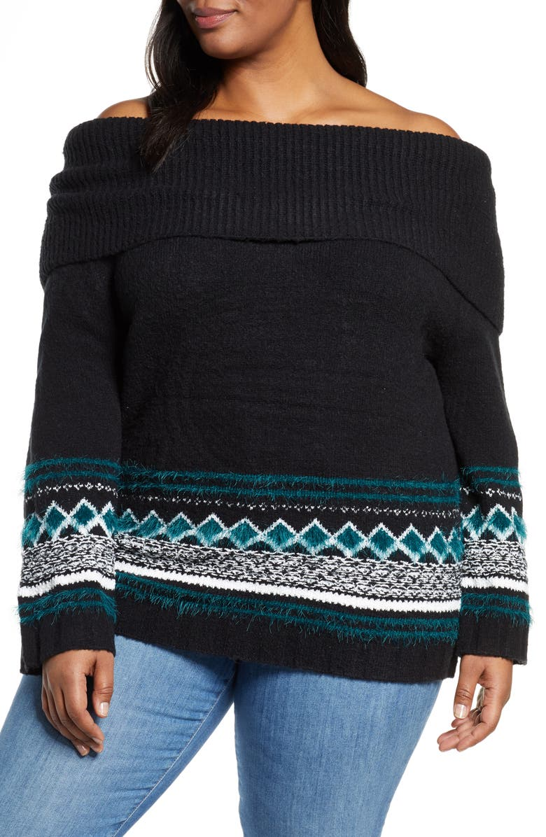 CASLON<SUP>®</SUP> Fair Isle Convertible Cowl Neck Sweater, Main, color, 001