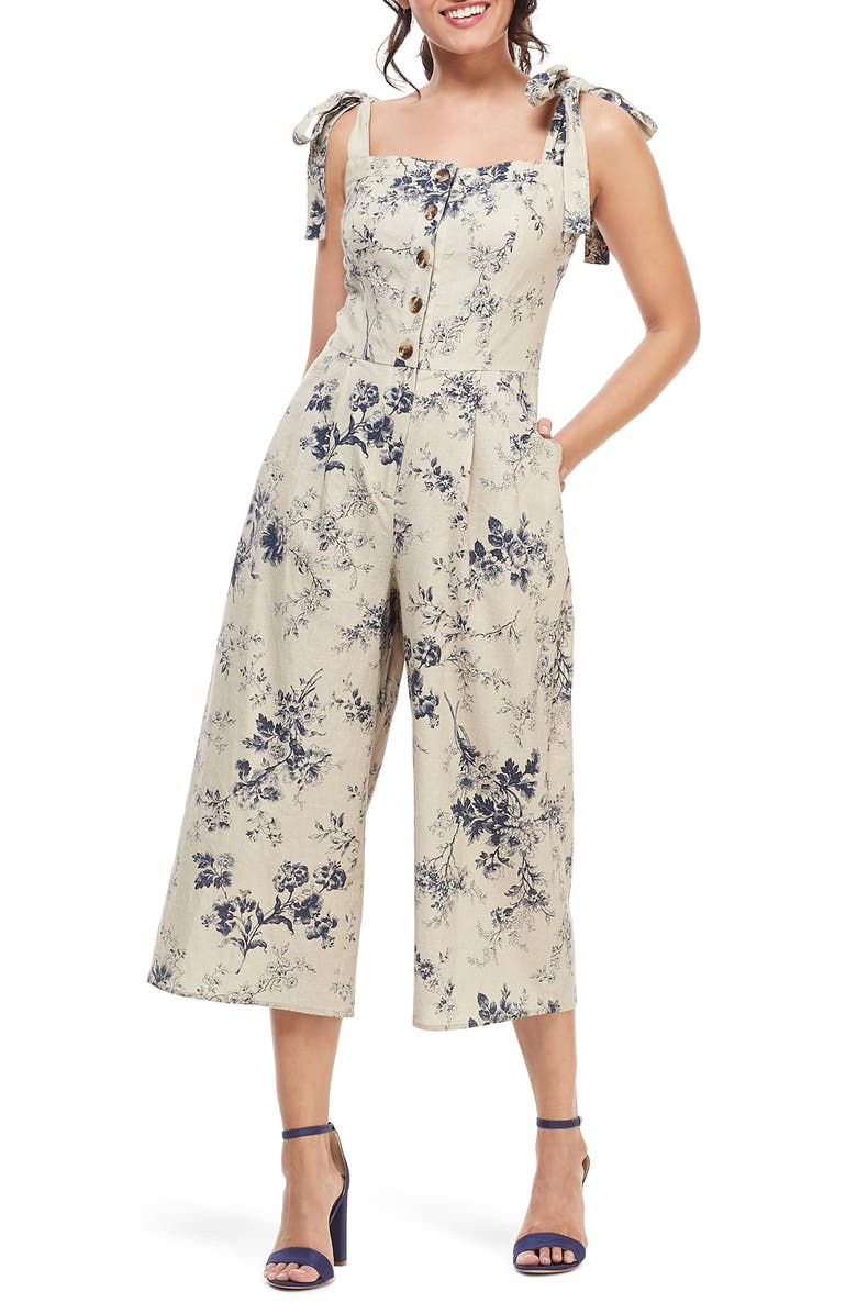 GAL MEETS GLAM COLLECTION Magnolia Smocked Back Linen Blend Jumpsuit, Main, color, 256
