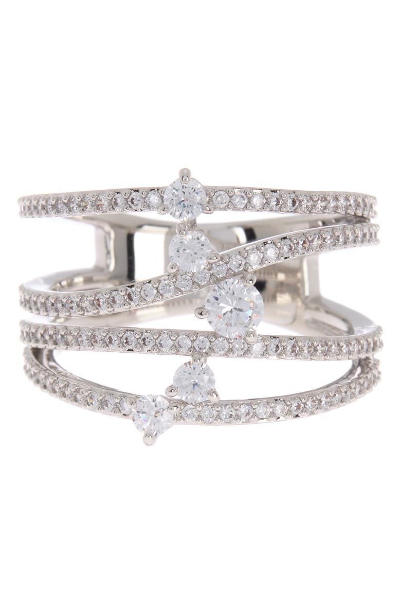 NADRI Fluidity CZ Embellished Ring - Size 7, Main, color, CLEAR