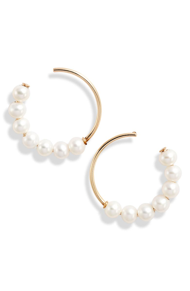 POPPY FINCH Pearl Frontal Hoop Earrings, Main, color, GOLD/ PEARL