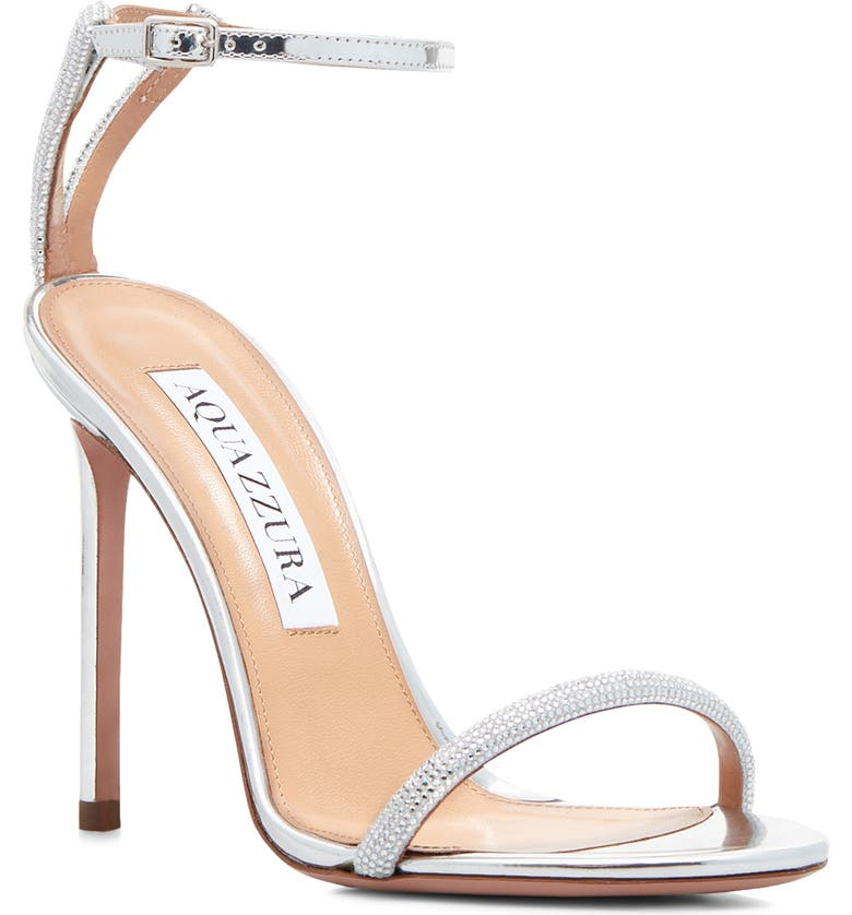 AQUAZZURA Moon Crystal Embellished Ankle Strap Sandal, Main, color, Silver