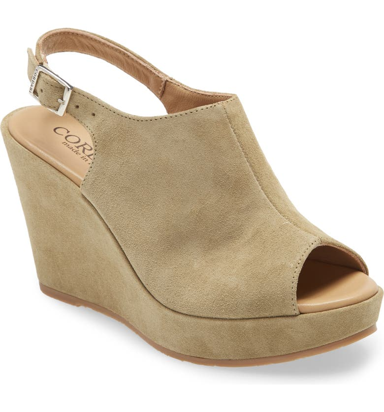 CORDANI Leesa Wedge Sandal, Main, color, CELERY SUEDE