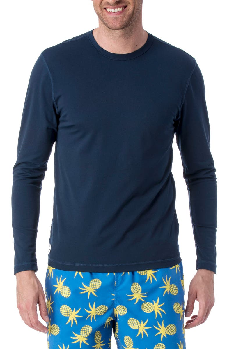 TOM & TEDDY Long Sleeve Stretch Rashguard, Main, color, DEEP BLUE