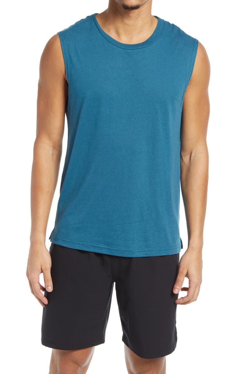 ALO The Triumph Sleeveless T-Shirt, Main, color, MINERAL BLUE