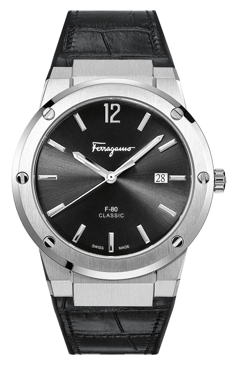 SALVATORE FERRAGAMO F-80 Croc Embossed Leather Strap Watch, 41mm, Main, color, 001