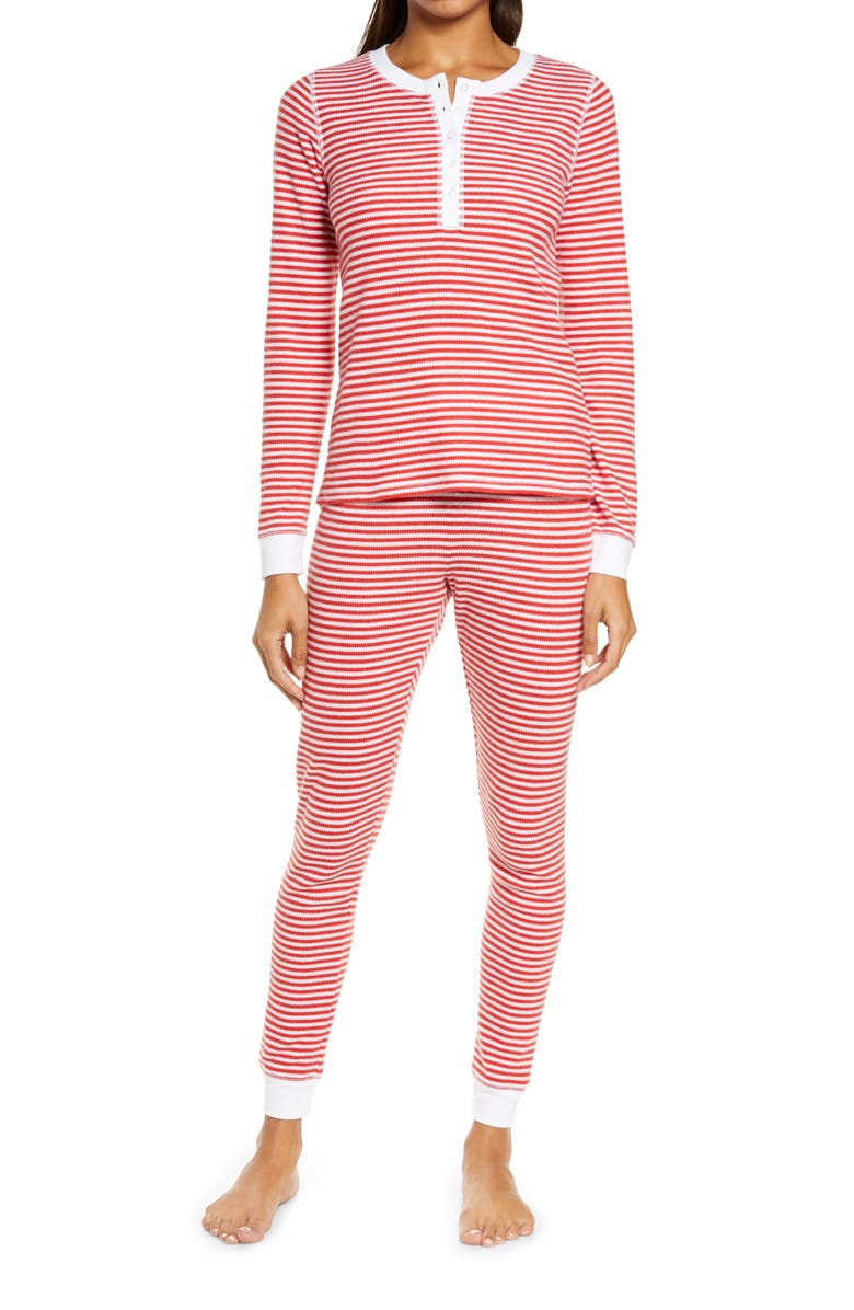 NORDSTROM Fam Jam Two-Piece Thermal Pajamas, Main, color, RED CHINOISE EVEN STRIPE
