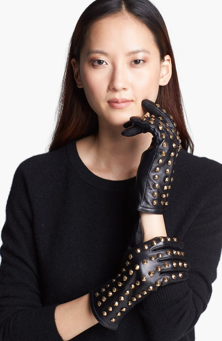 SURELL Studded Leather Gloves, Main, color, 001