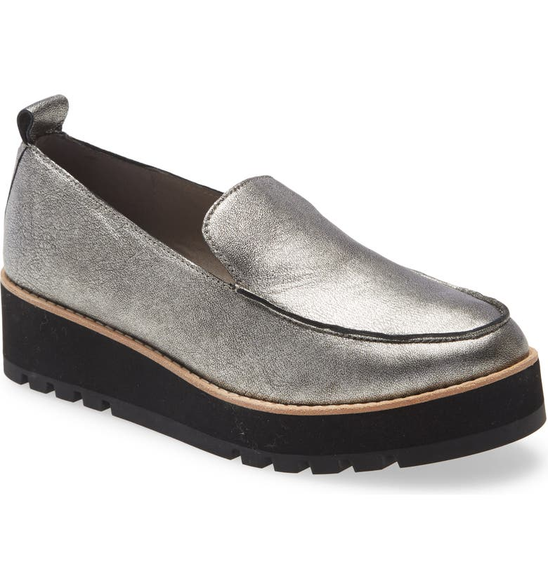 EILEEN FISHER Ells Platform Loafer, Main, color, SILVER LEATHER