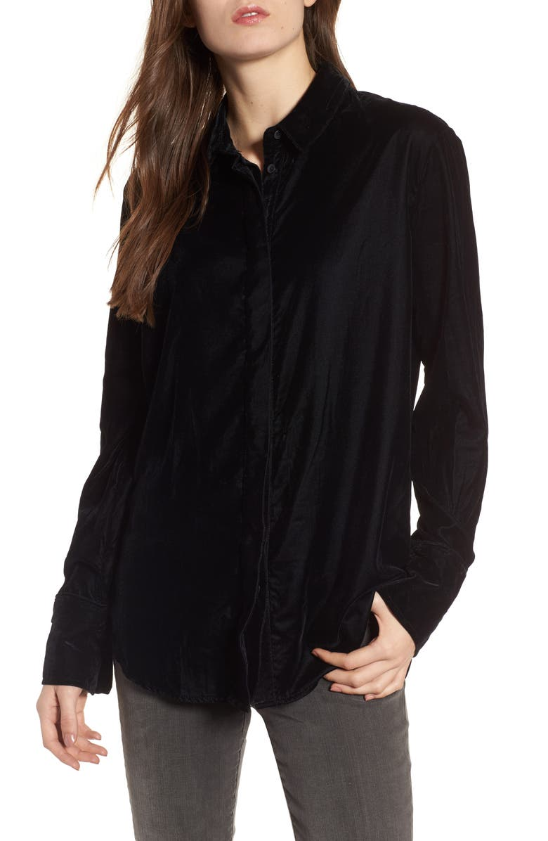 TREASURE & BOND Velvet Boyfriend Shirt, Main, color, 001