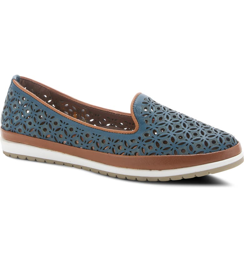 SPRING STEP Tulisa Perforated Leather Flat, Main, color, BLUE LEATHER