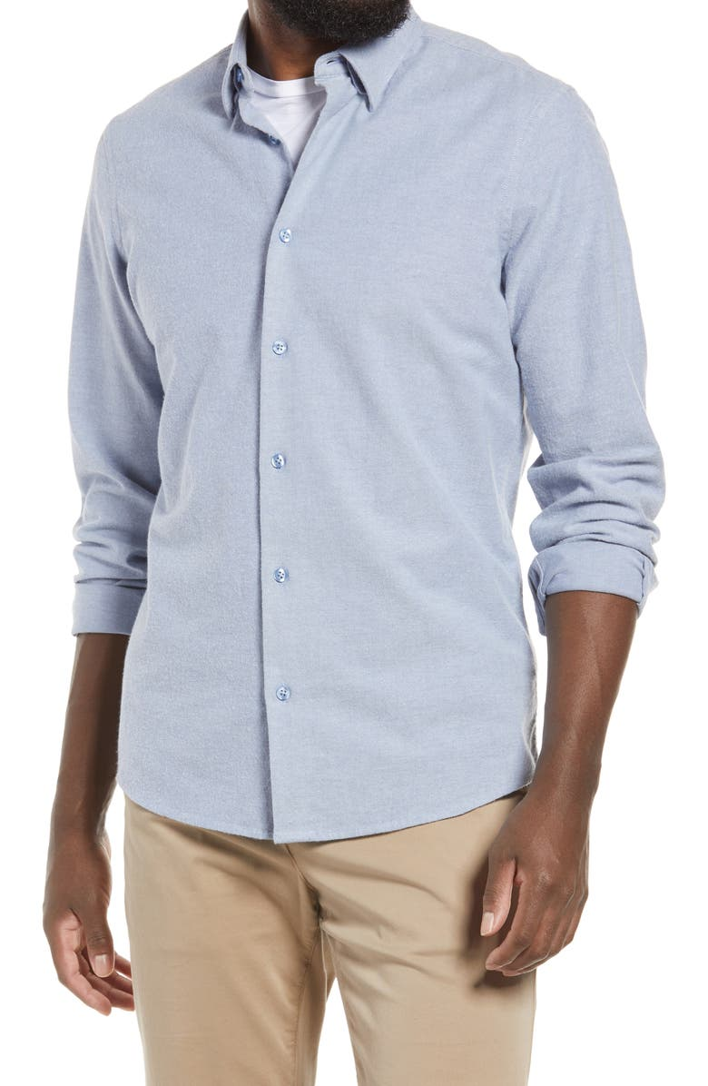 NORDSTROM Oxford Button-Up Performance Shirt, Main, color, BLUE - BLUE OXFORD