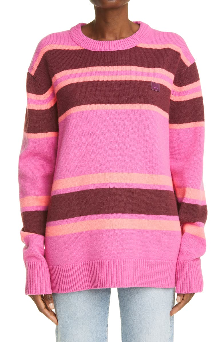 ACNE STUDIOS Nimah Stripe Face Patch Wool Sweater, Main, color, PINK/ BURGUNDY