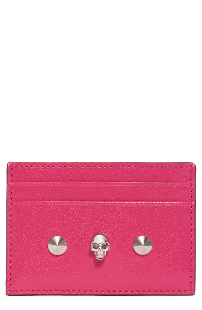 ALEXANDER MCQUEEN Skull & Studs Leather Card Case, Main, color, 650