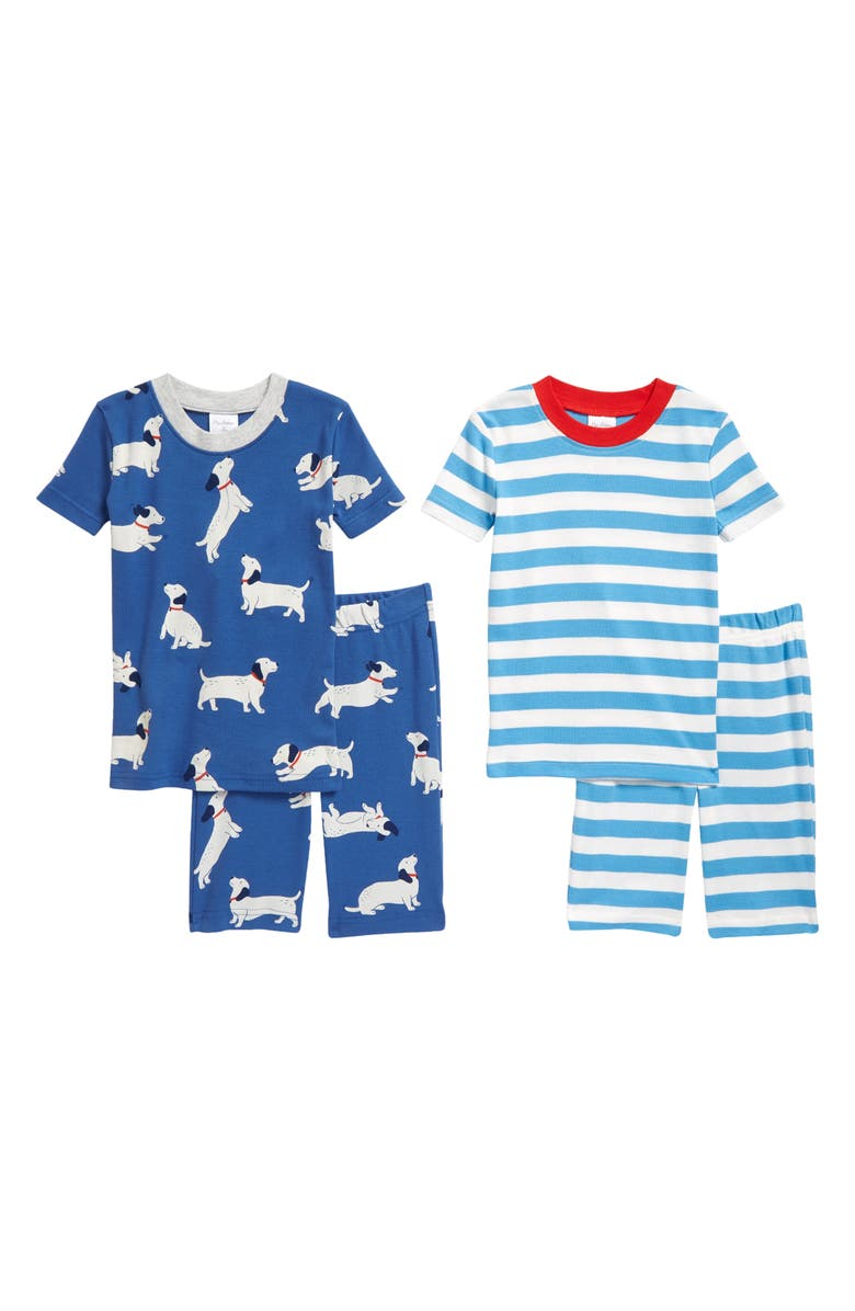 MINI BODEN Kids' 2-Pack Fitted Two-Piece Short Pajamas, Main, color, VENICE BLUE SAUSAGE DOGS