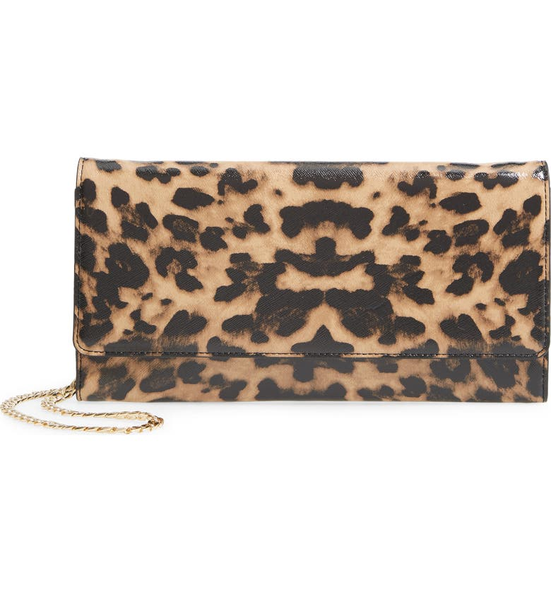 NORDSTROM Selena Leather Clutch, Main, color, TAN LEOPARD