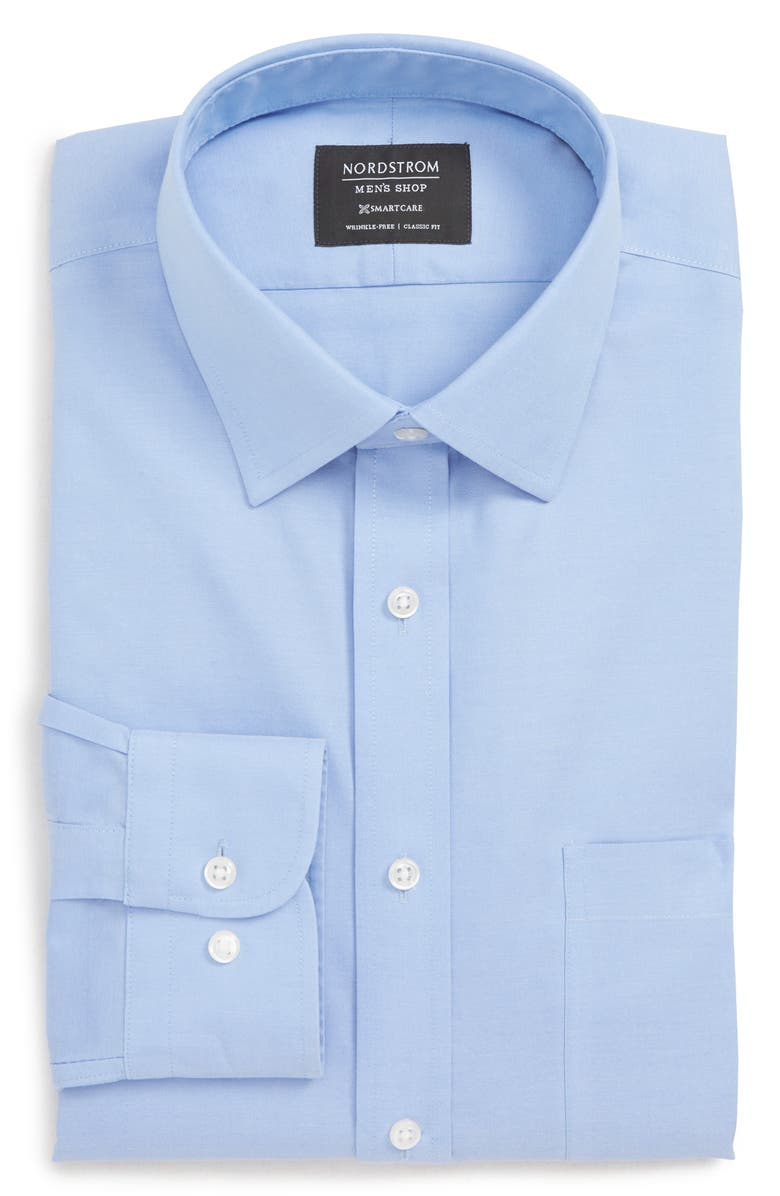 NORDSTROM MEN'S SHOP Nordstrom Smartcare<sup>™</sup> Classic Fit Solid Dress Shirt, Main, color, BLUE HYDRANGEA