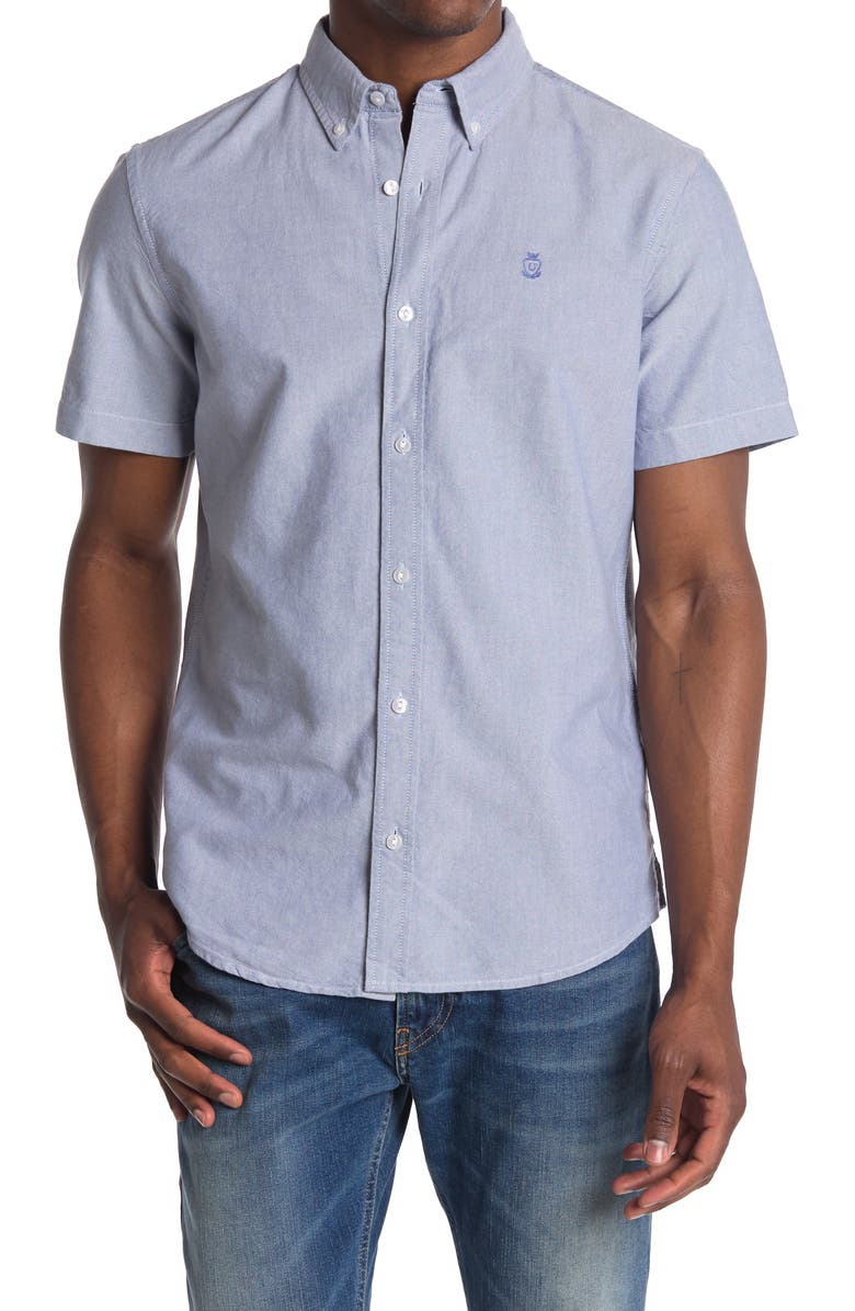 14TH AND UNION Short Sleeve Oxford Shirt, Main, color, BLUE FJORD-WHITE