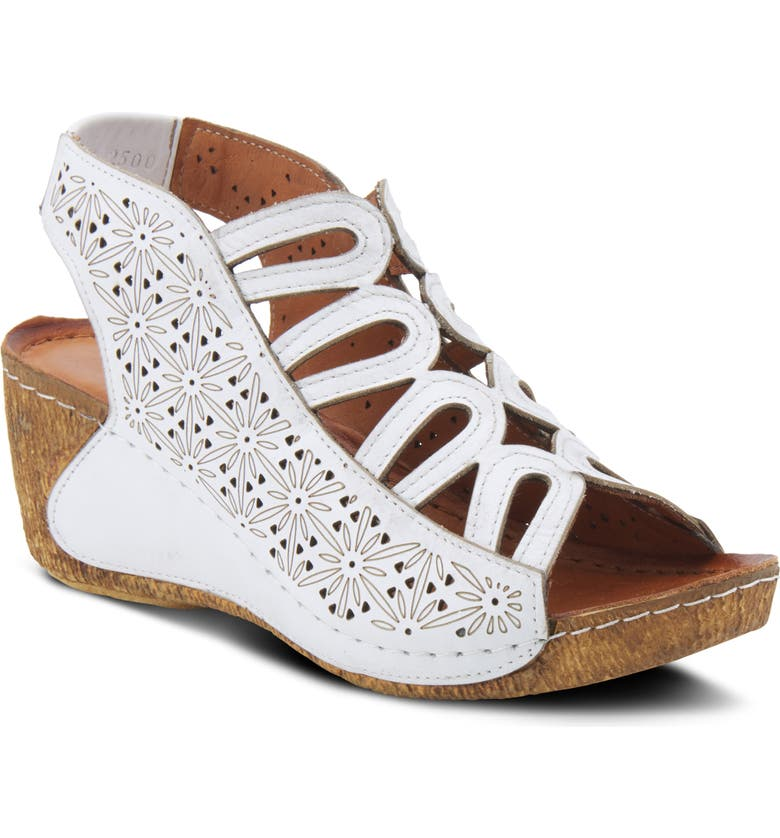 SPRING STEP Inocencia Wedge Sandal, Main, color, WHITE LEATHER