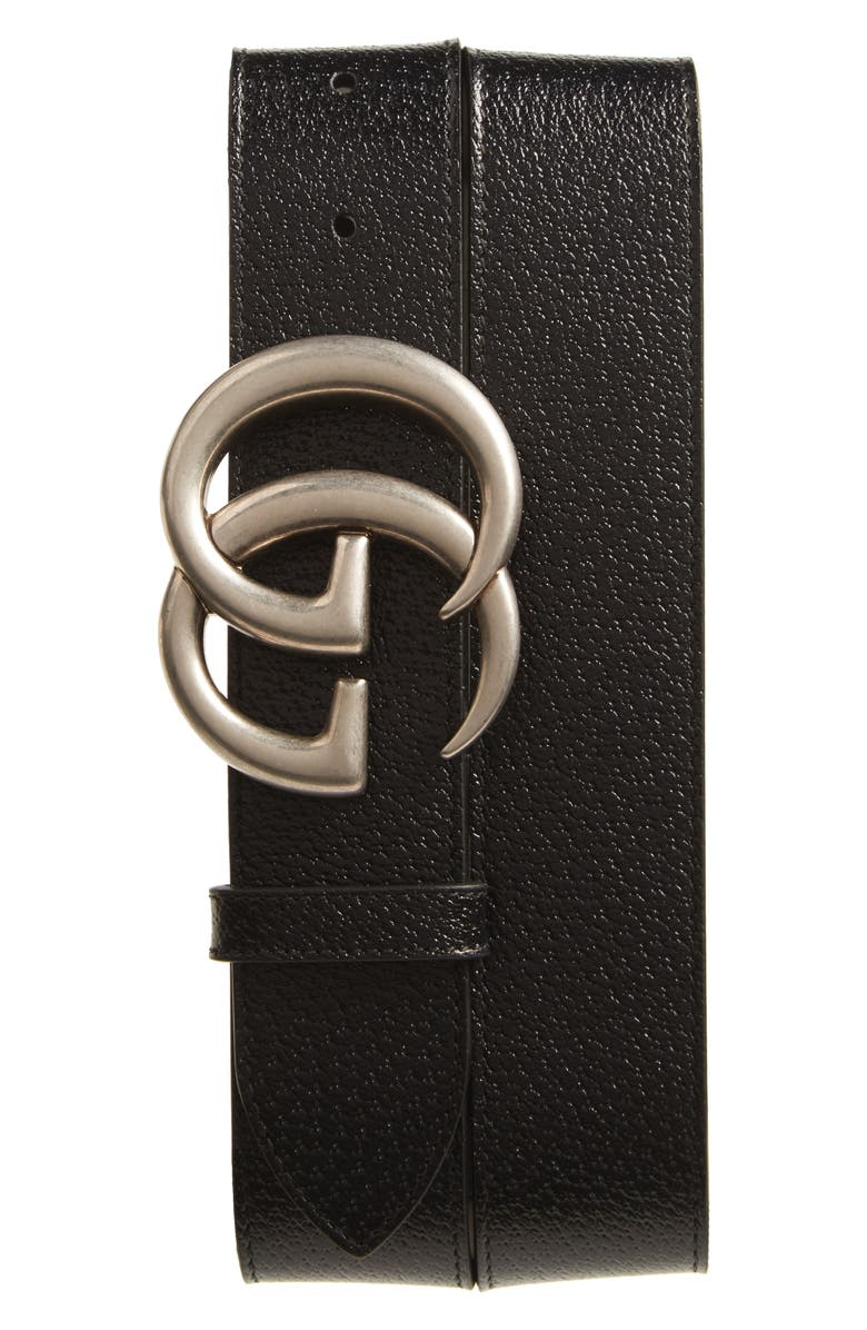 GUCCI GG Pebbled Leather Belt, Main, color, 001