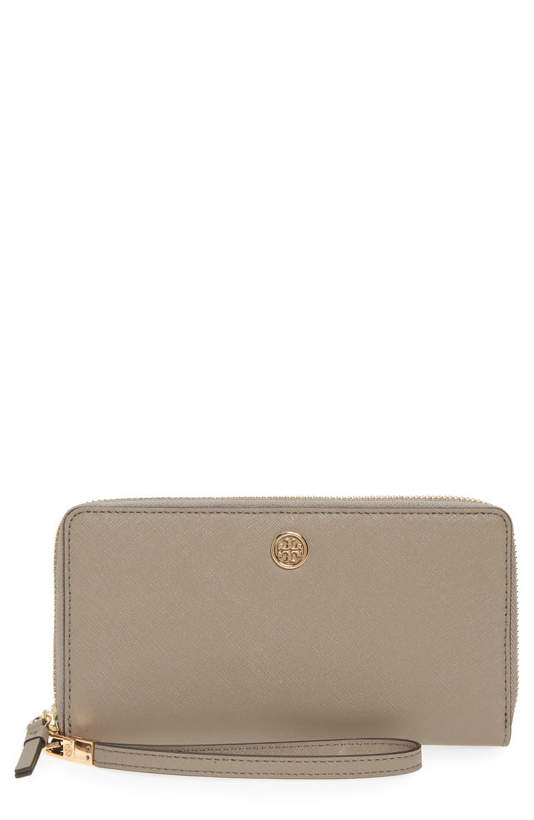 TORY BURCH Robinson Zip Leather Continental Wallet, Main, color, 082