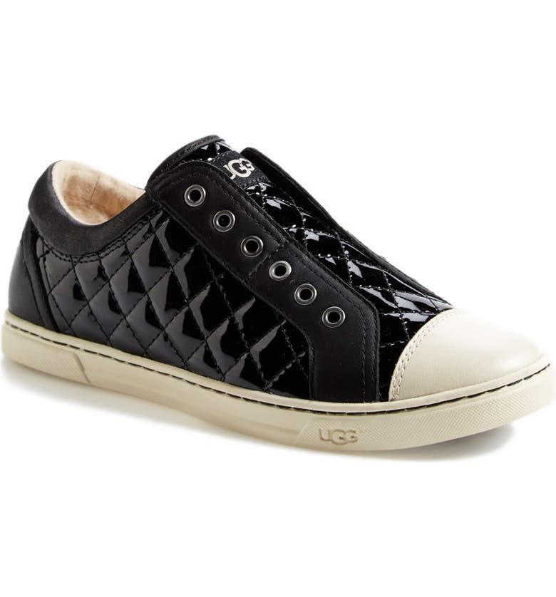 UGG<SUP>®</SUP> Australia 'Jemma' Quilted Sneaker, Main, color, BLACK PATENT LEATHER