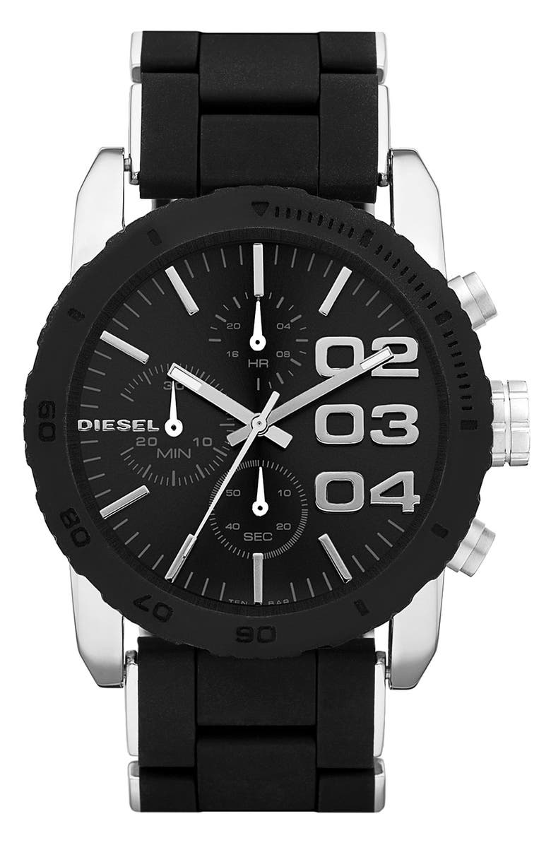 DIESEL<SUP>®</SUP> 'Franchise' Chronograph Silicone Bracelet Watch, 42mm, Main, color, 001