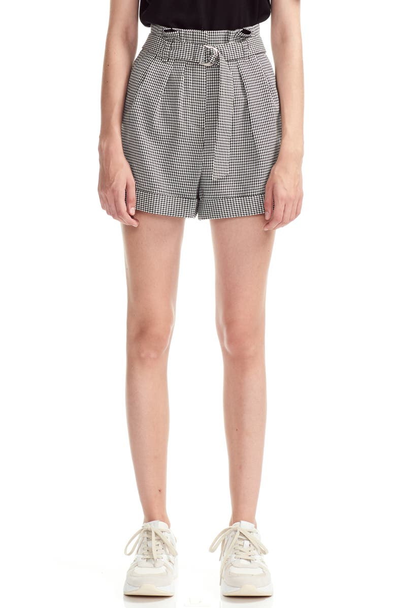 MAJE Imy Houdstooth Check Paperbag Waist Belted Shorts, Main, color, WHITE/ BLACK