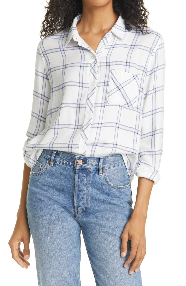 RAILS Hunter Plaid Shirt, Main, color, WHITE BAY BLUE