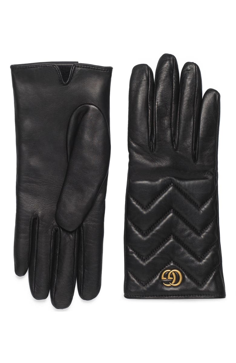 GUCCI GG Logo Cashmere Lined Quilted Leather Gloves, Main, color, 001