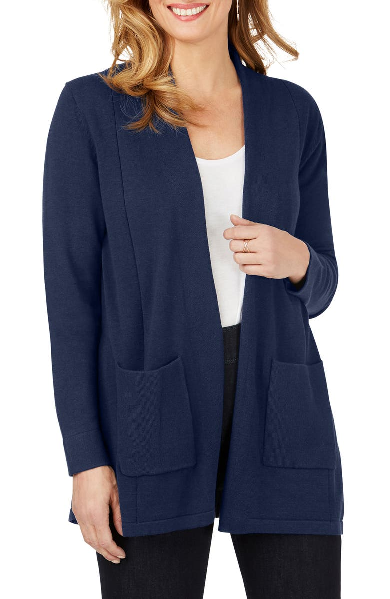 FOXCROFT Bethanie Open Front Cardigan, Main, color, CADET BLUE