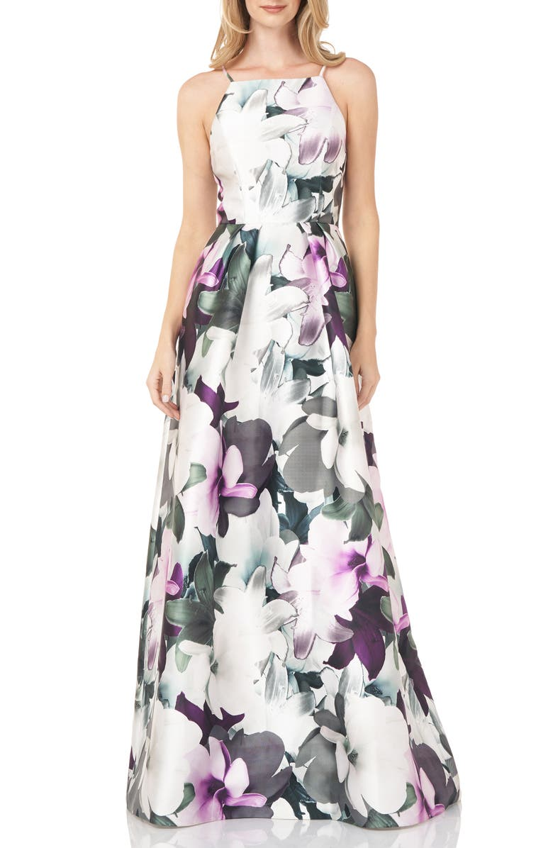 KAY UNGER Floral Mikado Gown, Main, color, CERISE TEXTURED LILY
