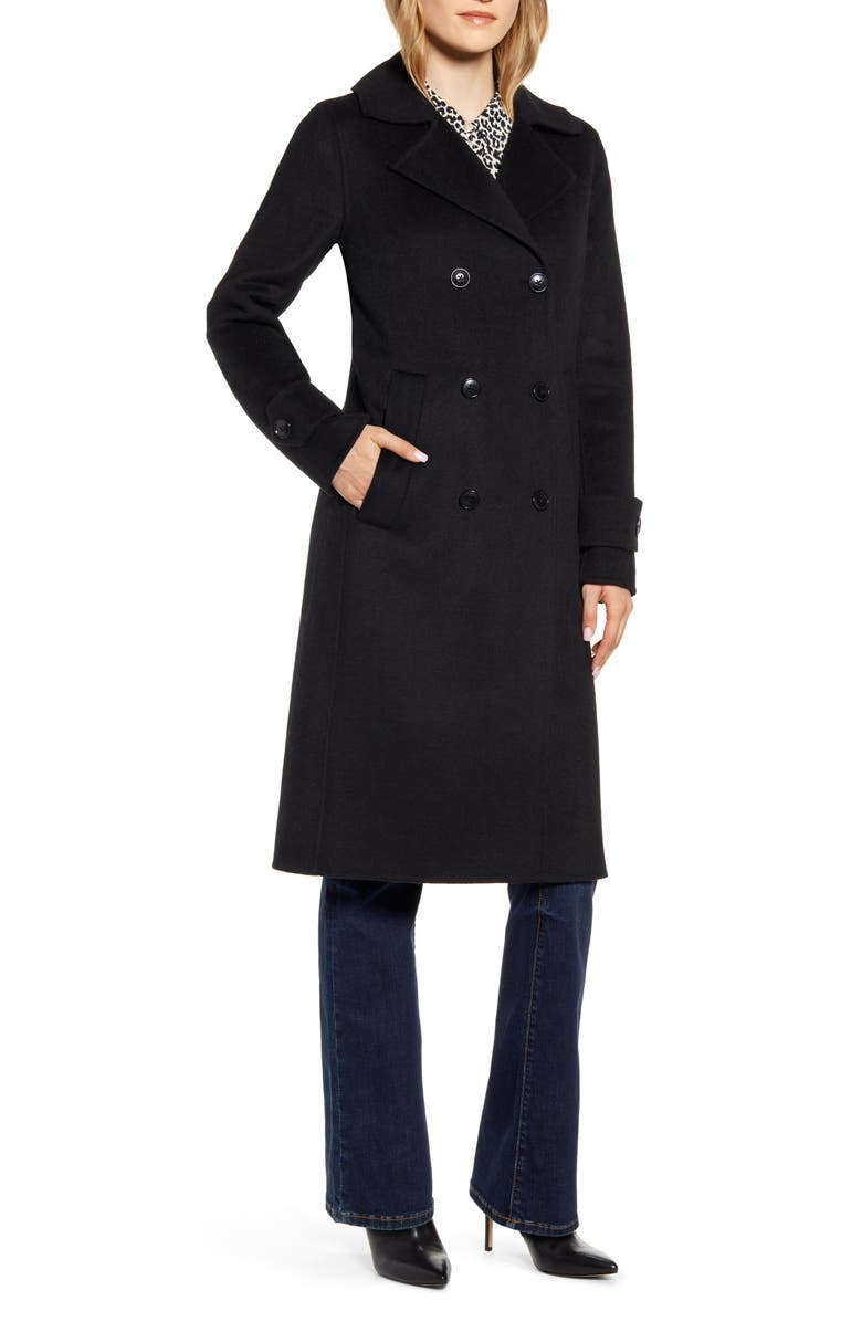 KENNETH COLE NEW YORK Double Breasted Wool Blend Coat, Main, color, 001