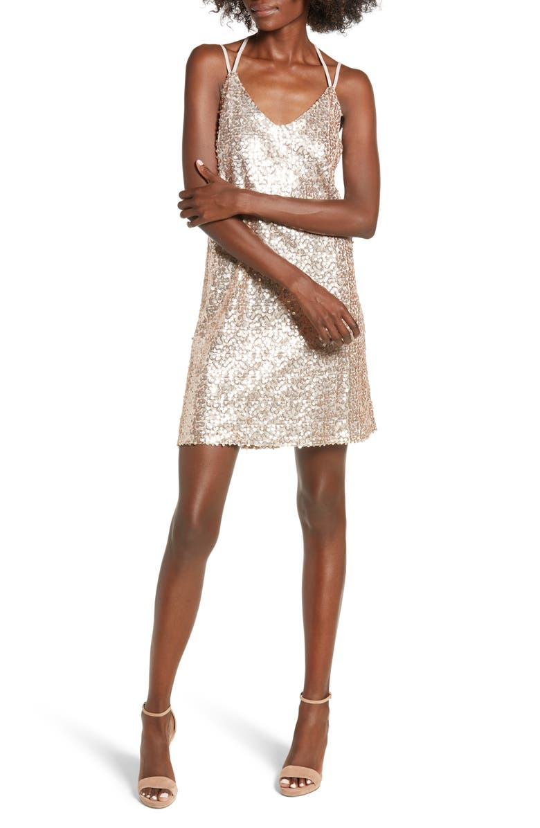 LOVE, FIRE Strappy Sequin Slipdress, Main, color, Gold