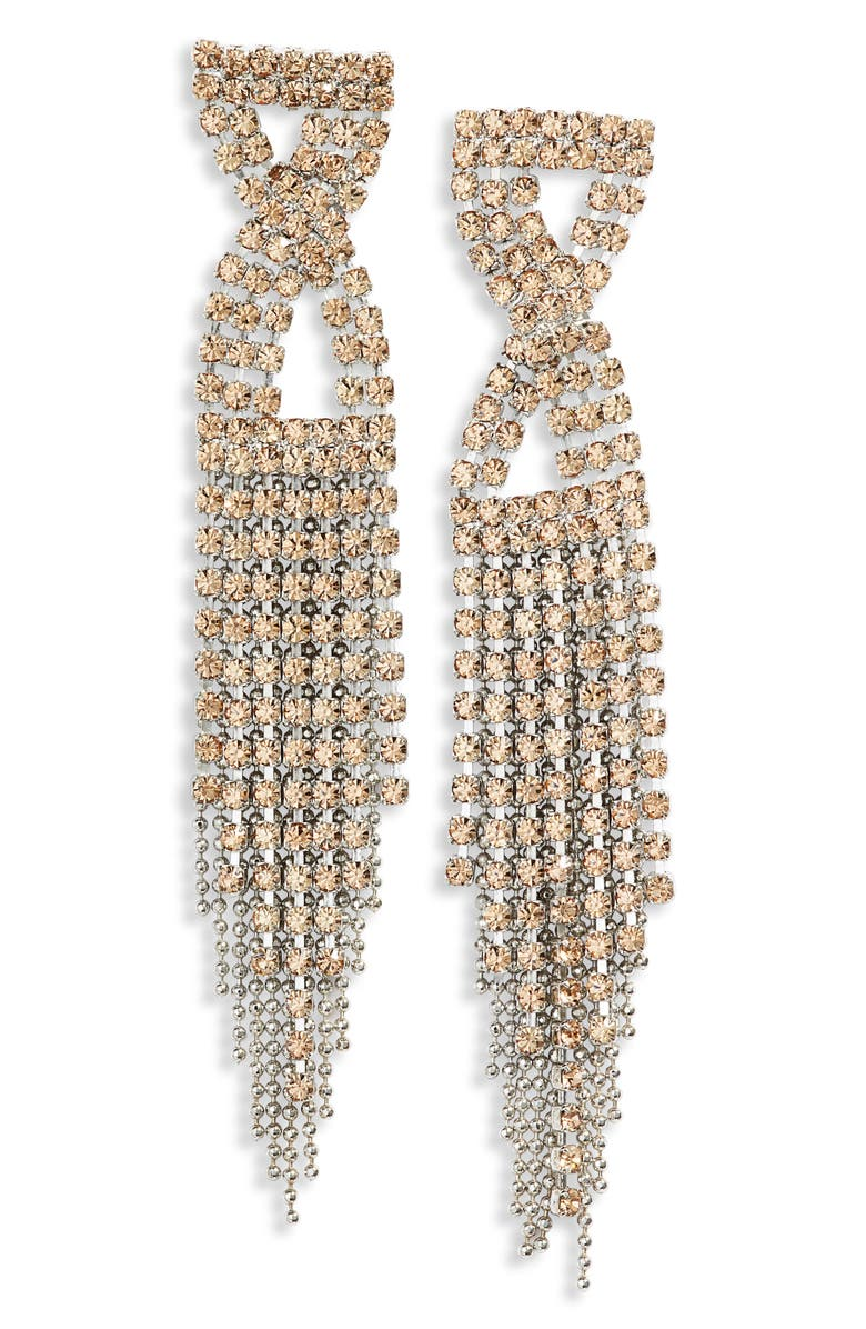 CRISTABELLE Infinity Crystal Fringe Earrings, Main, color, LIGHT COLORADO/ SILVER
