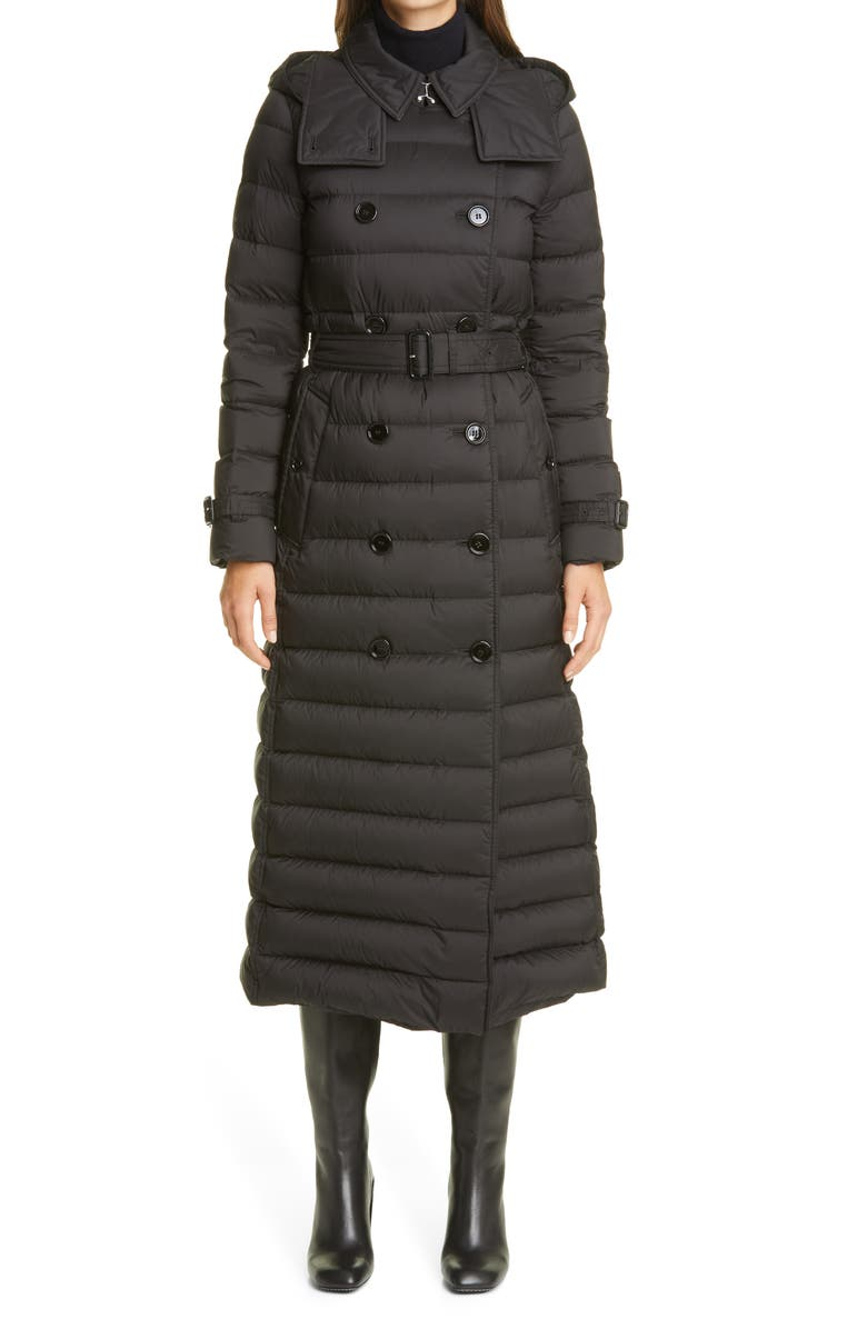 BURBERRY Arniston Double Breasted Quilted Down Long Puffer Coat, Main, color, BLACK