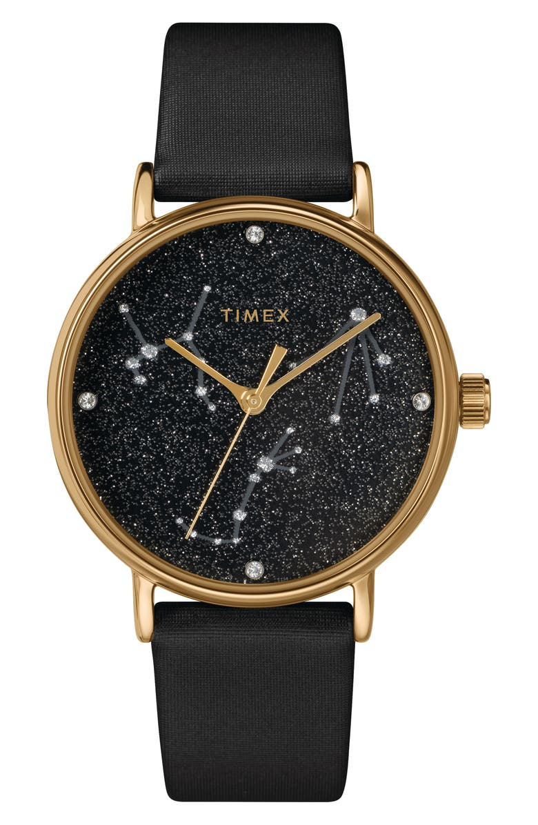 TIMEX<SUP>®</SUP> Celestial Opulence Leather Strap Watch, 37mm, Main, color, BLACK/ GOLD