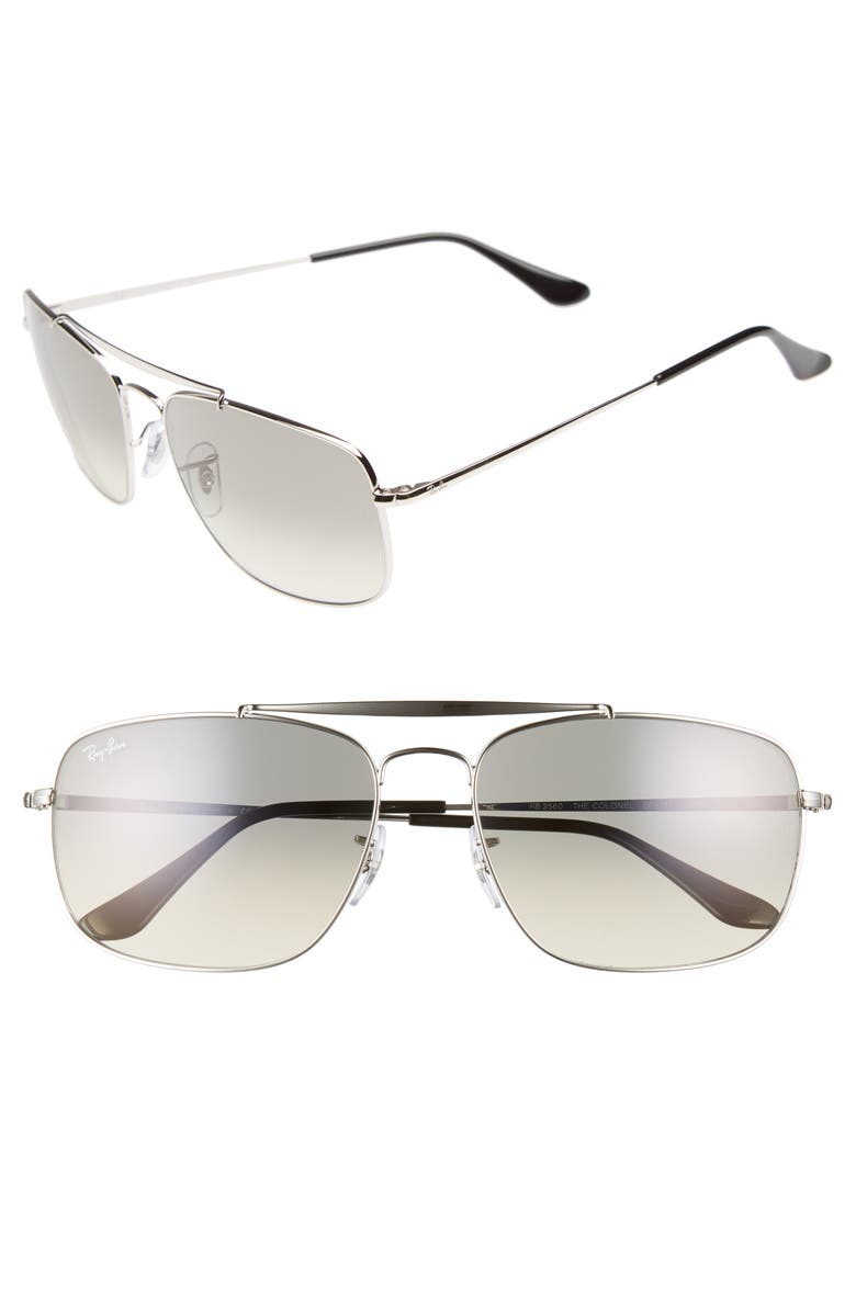 RAY-BAN The Colonel 61mm Aviator Sunglasses, Main, color, 042