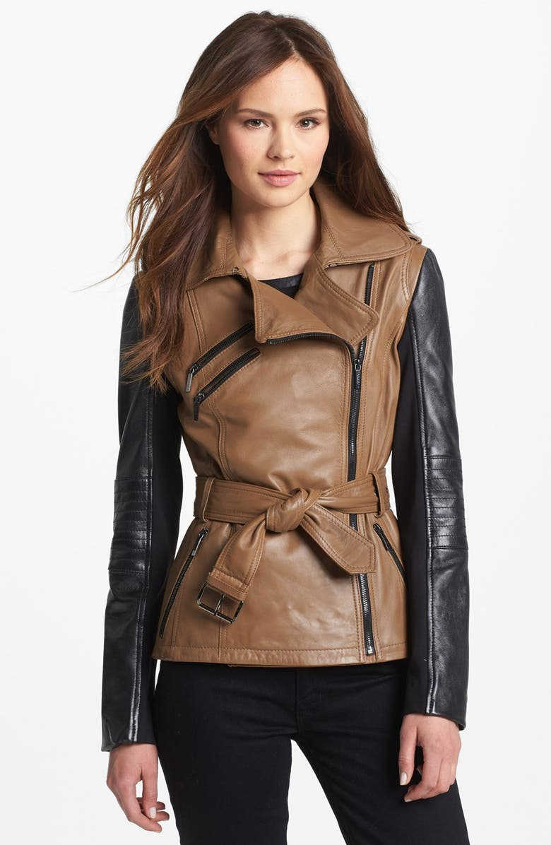 LAUNDRY BY SHELLI SEGAL Two Tone Leather Moto Jacket, Main, color, 250