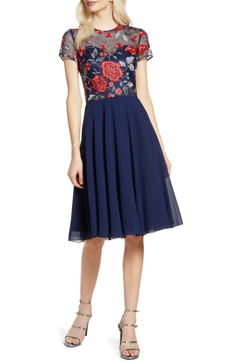 CHI CHI LONDON Meryn Embroidered Chiffon Cocktail Dress, Main, color, 413