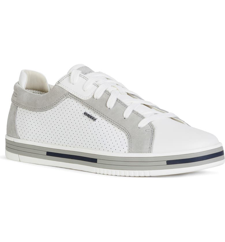 GEOX Meolo Perfroated Lace-Up Sneaker, Main, color, WHITE/ LIGHT GREY