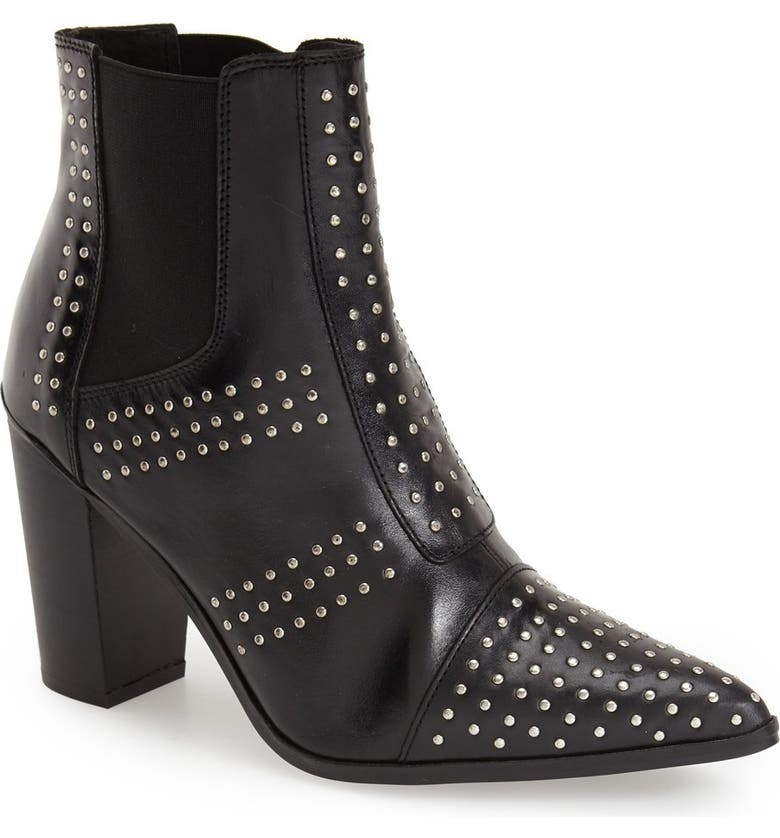 TOPSHOP Studded Pointy Toe Boot, Main, color, 001