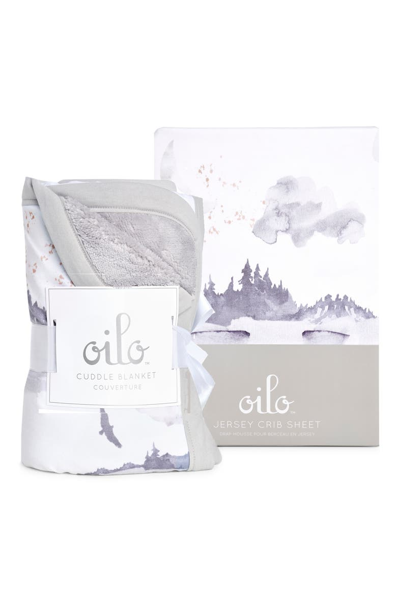 OILO Misty Mountain Cuddle Blanket & Fitted Crib Sheet Set, Main, color, STONE