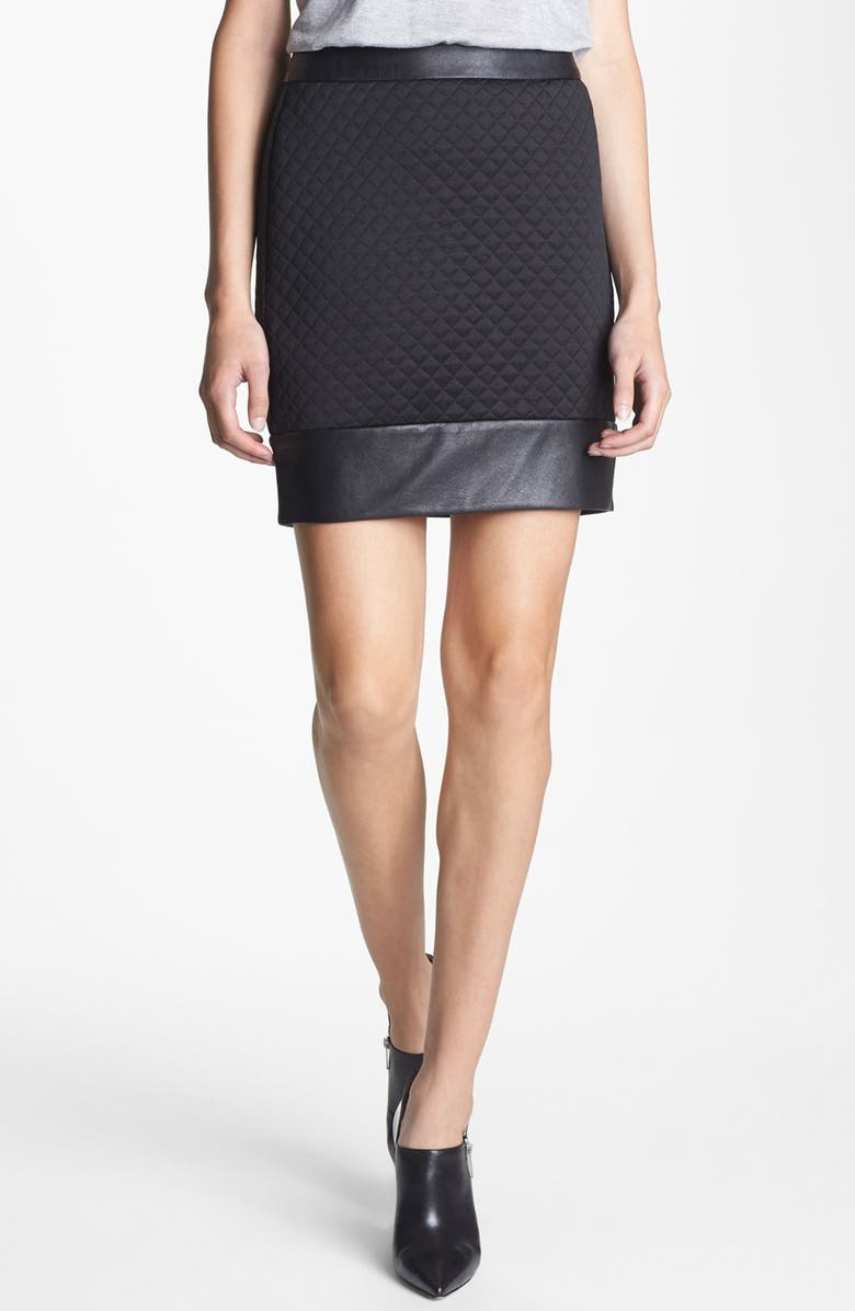 SEARCH FOR SANITY Contrast Trim Quilted Skirt, Main, color, Black