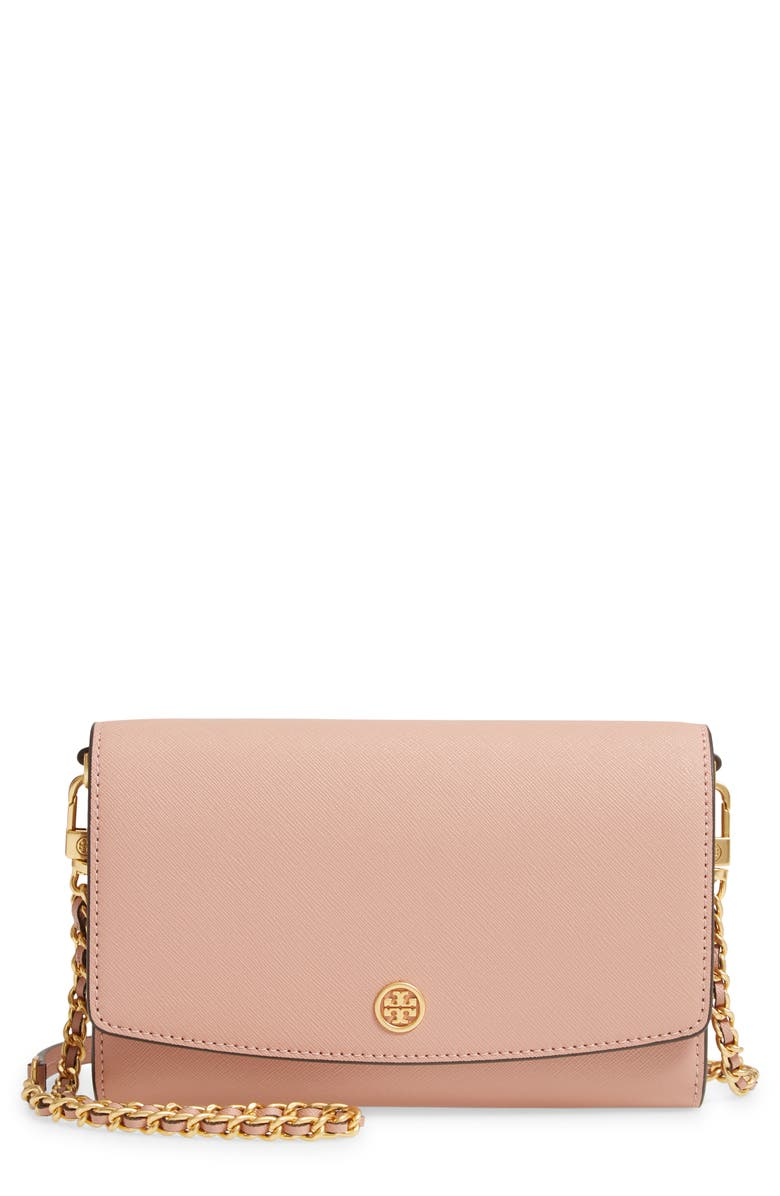 TORY BURCH Robinson Leather Wallet on a Chain, Main, color, PINK MOON/ ROLLED BRASS